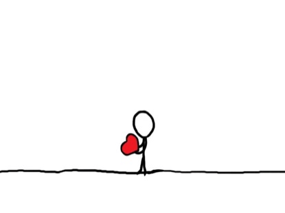 small doodle drawing of person holding red heart