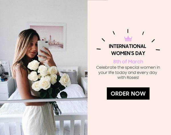 lady standing with beautiful white roses in from of a mirror and clicking a picture
