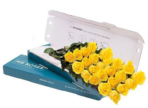 yellow roses gift box