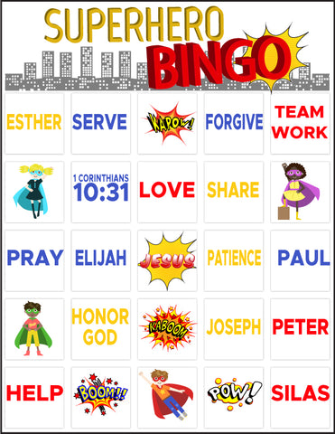 graphic regarding Free Printable Bible Bingo Cards known as Bible Superhero Bingo Childrens Ministry Promotions