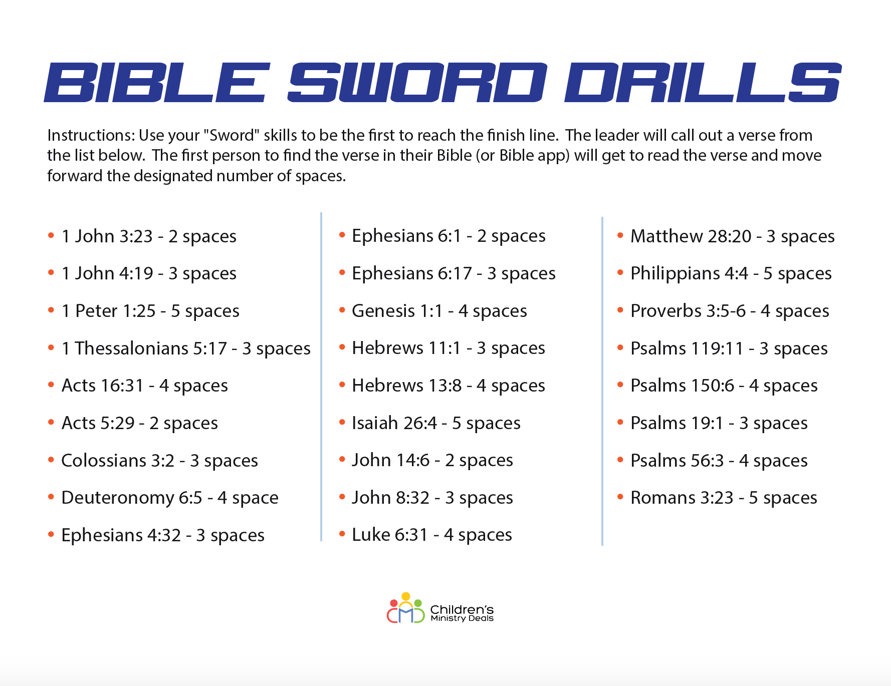 Bible Sword Drills Game