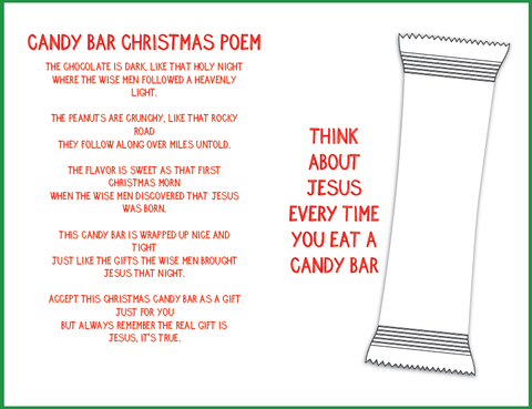Candy Bar Christmas Poem