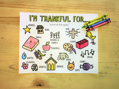 I'm Thankful Coloring Page