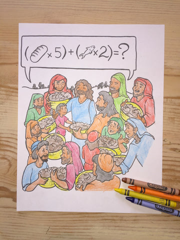 Jesus Feeds the 5,000 Coloring Page