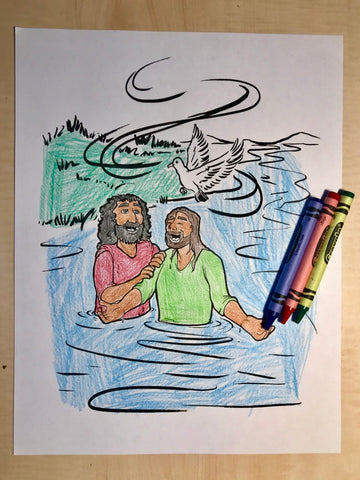 Jesus Gets Baptized Coloring Page