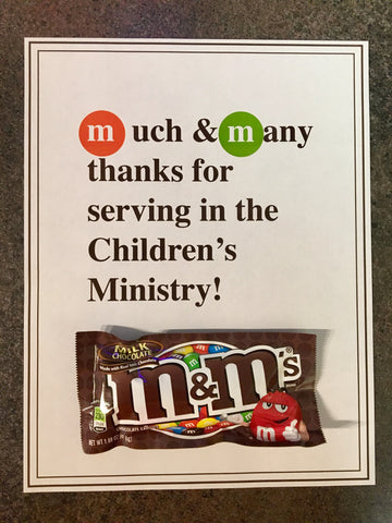 M&M's Children's Ministry Volunteer Appreciation Note
