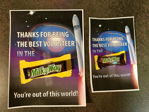 Milky Way Candy Bar Volunteer Thank You Note