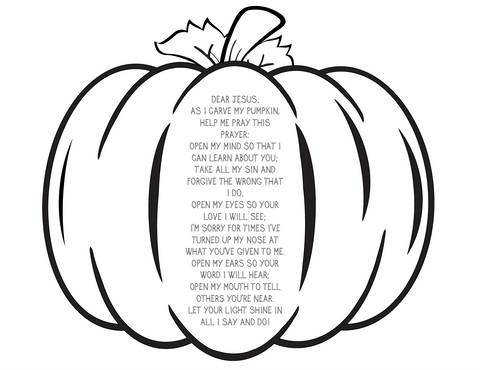 Pumpkin Prayer Coloring Page