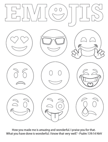 Free emojis bible verse coloring page children 39 s for Emoji coloring pages