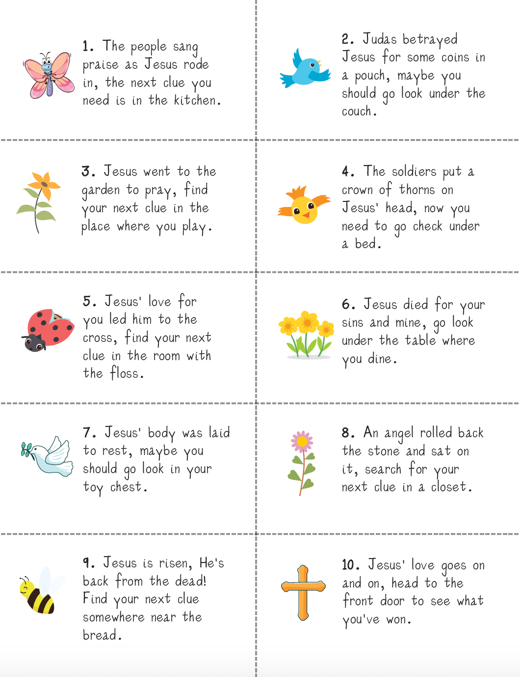 Easter Scavenger Hunt Cards