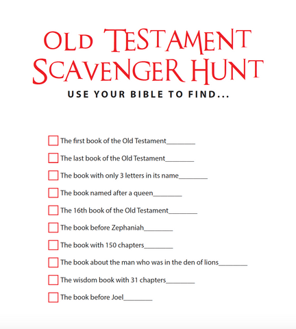 Old Testament Scavenger Hunt