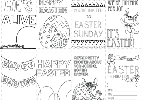 Easter Coloring Cards for Children's Ministry