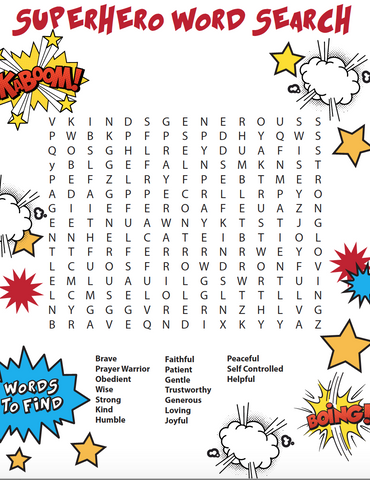 picture about Printable Bible Word Search identified as Superhero Bible Term Glimpse