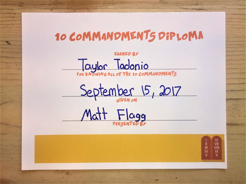 10 Commandments Diploma Certificate