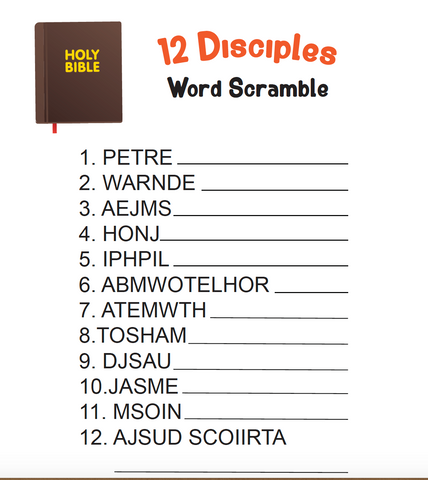 12 Disciples Word Scramble