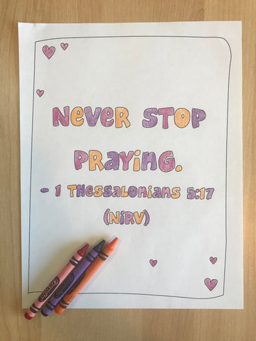 1 Thessalonians 5:17 Bible Verse Coloring Page