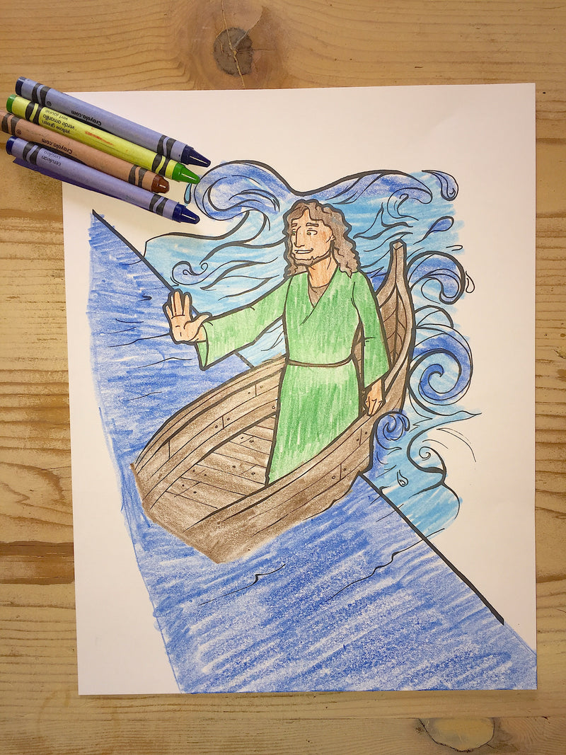 Jesus Calms the Storm Coloring Page