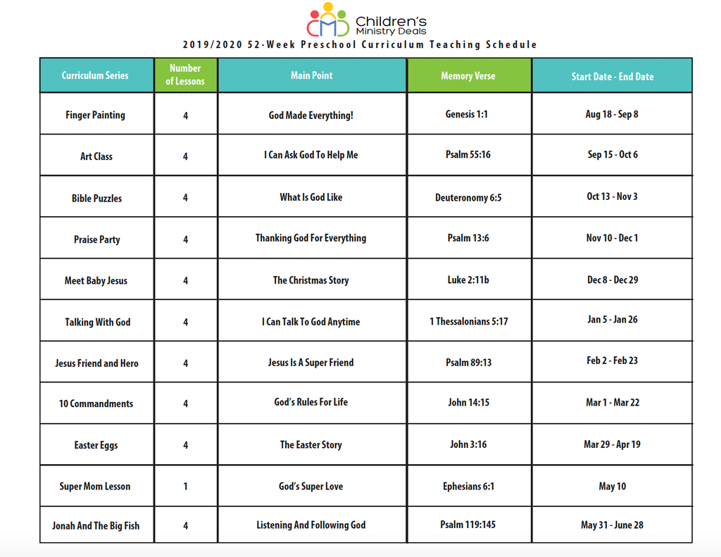 52-week Preschool Curriculum Teaching Schedule