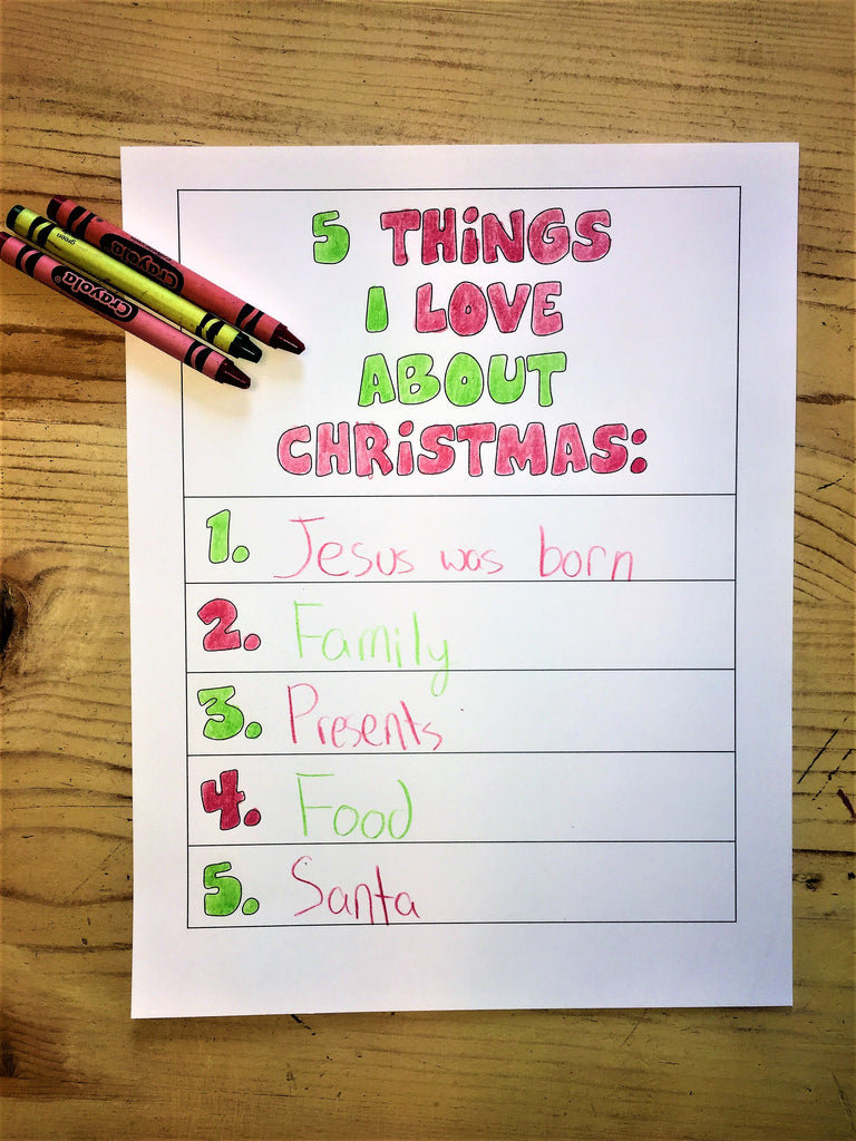 5 things i love about christmas coloring page