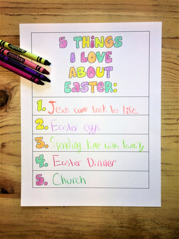 "FREE ""5 Things I Love About Easter Coloring Page"""