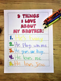 "FREE ""5 Things I Love About My Brother Coloring Page"""