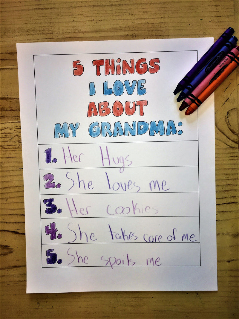 "FREE ""5 Things I Love About My Grandma Coloring Page"""