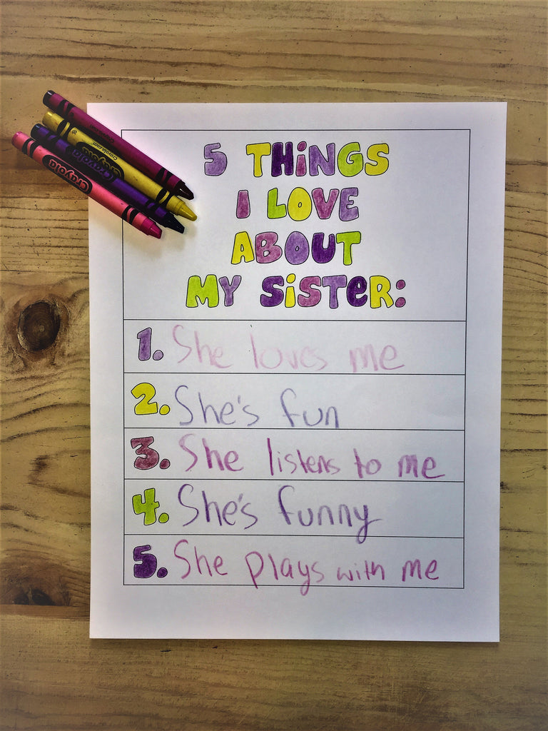 "FREE ""5 Things I Love About My Sister Coloring Page"""