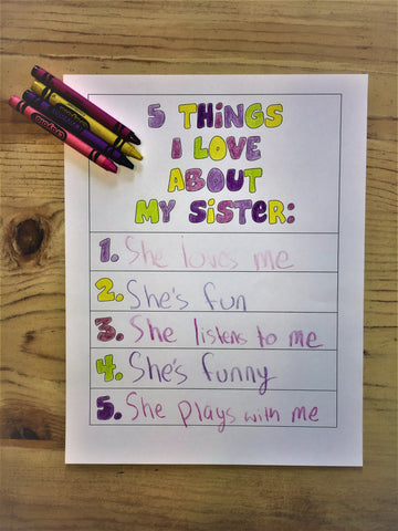 5 Things I Love About My Sister Card