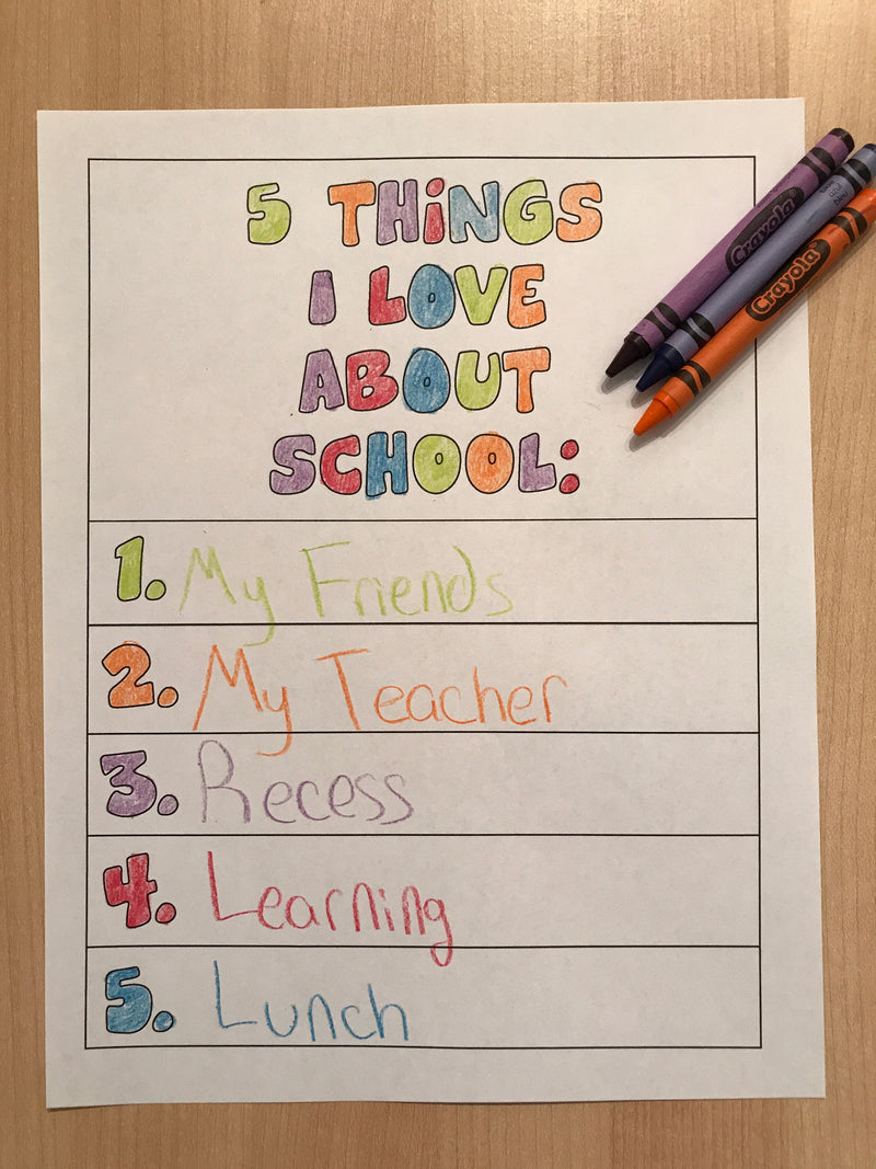 5 Things I Love About School Coloring Page