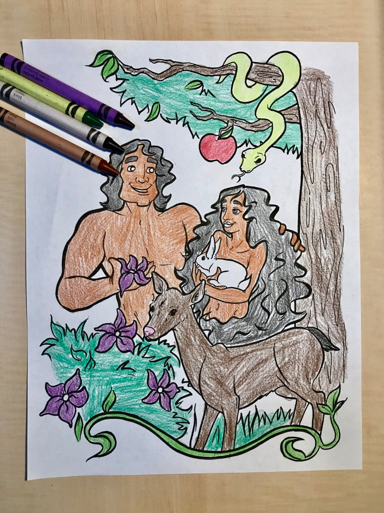 FREE Adam and Eve Coloring Page