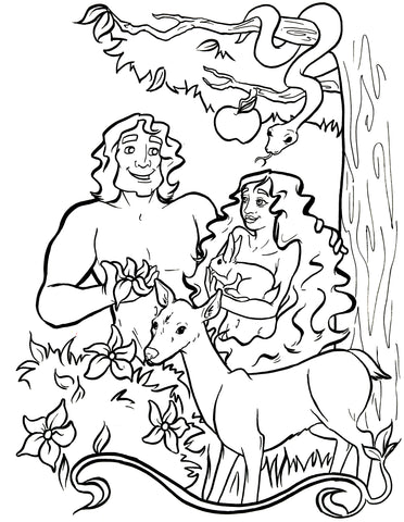 ... Adam And Eve Coloring Page