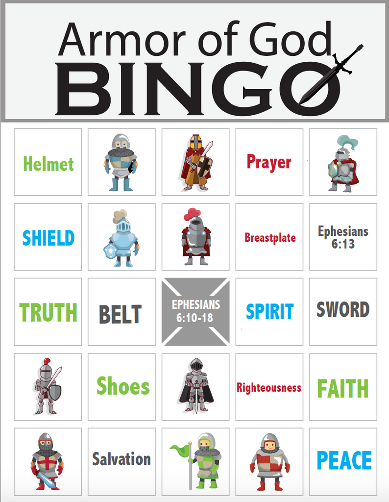 graphic regarding Free Printable Pictures of the Armor of God titled Armor of God Bingo