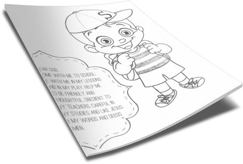 Back To School Coloring Page - Student (Boy)