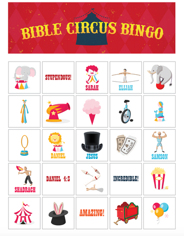 Bible Circus Bingo Game
