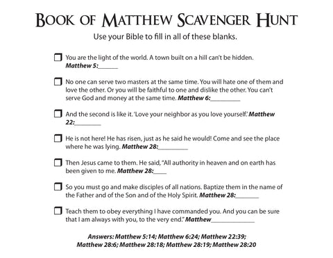 Book of Matthew Scavenger Hunt