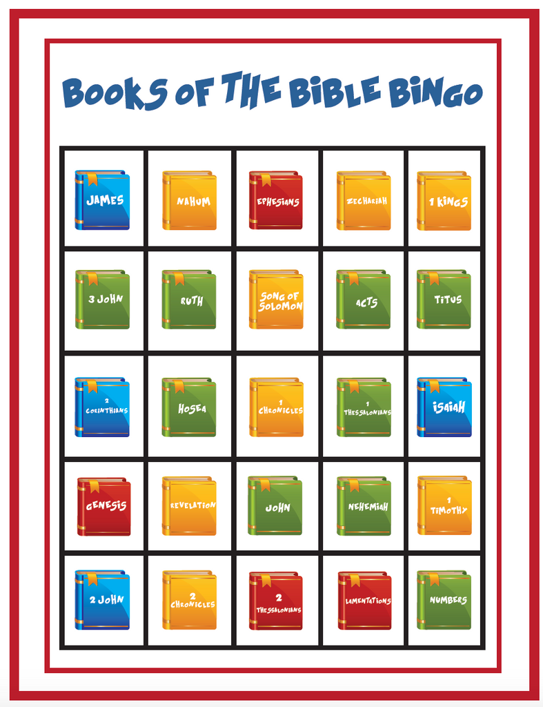 photograph relating to Bible Bingo Printable identified as Guides of the Bible Bingo Recreation
