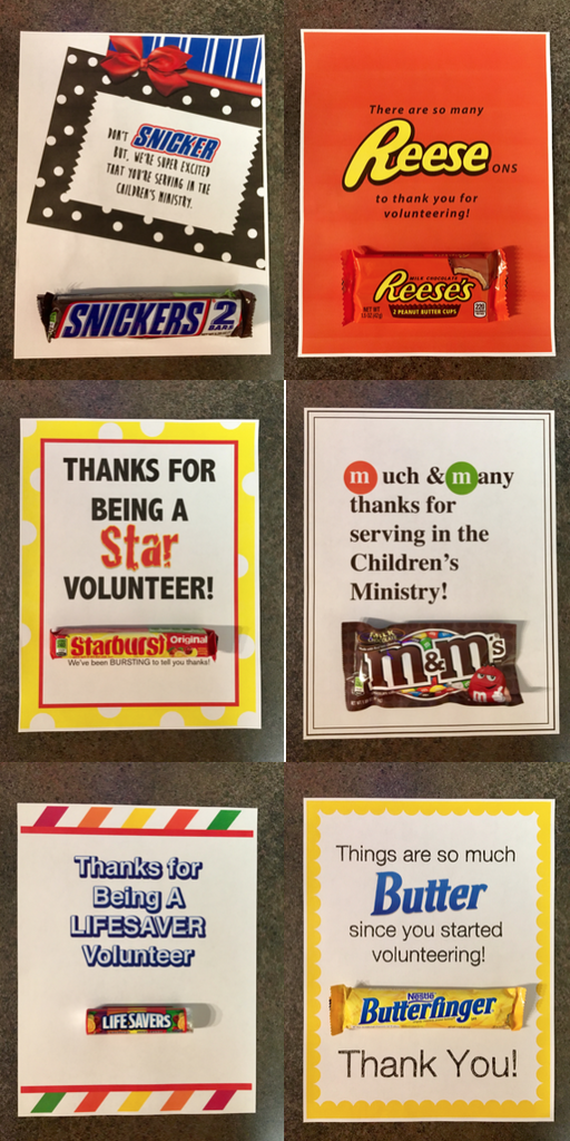 7 Candy Bar Thank You Notes for Volunteers – Children's ...