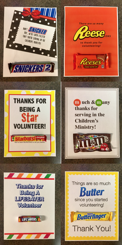 7 Candy Bar Thank You Notes for Volunteers
