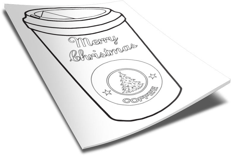 Christmas Coffee Cup Coloring Page