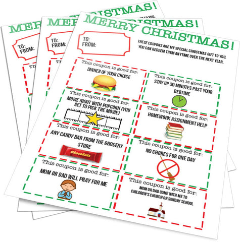 Christmas Gift Coupons for Kids