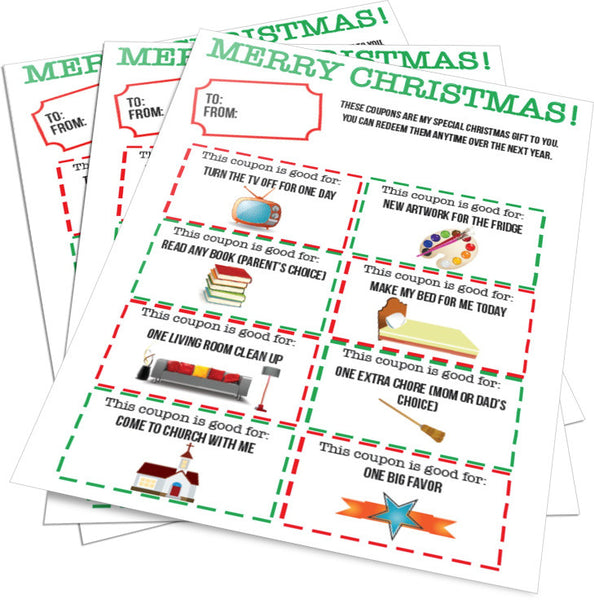 Christmas Gift Coupons Parents From Kids – Children's ...