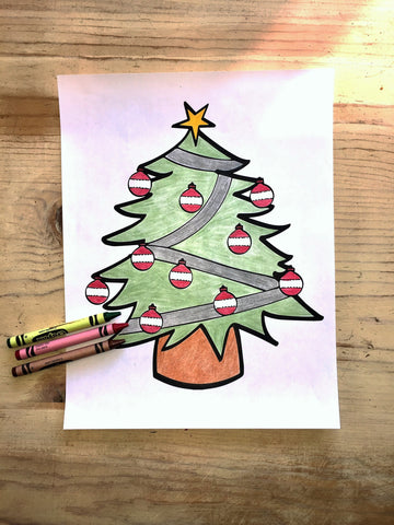 FREE Christmas Coloring Page-Tree