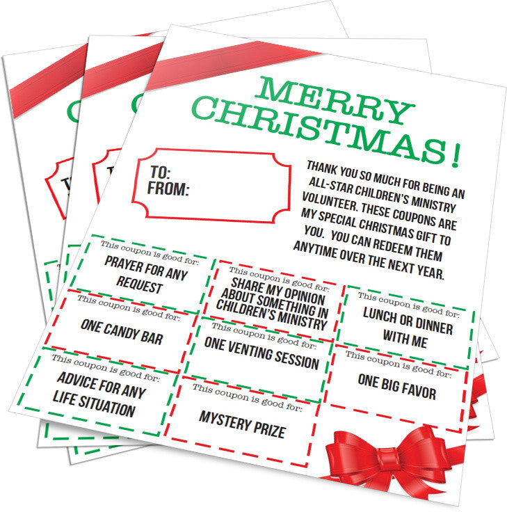 Christmas Gift Coupons for Children's Ministry Volunteers