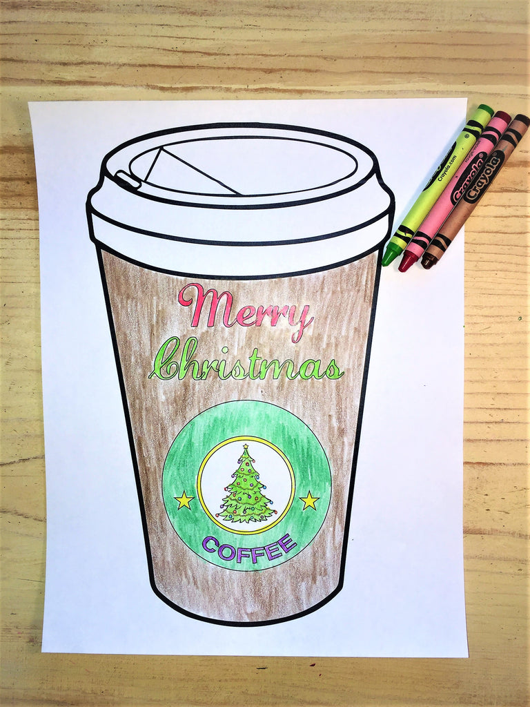 FREE Christmas Coffee Cup Coloring Page