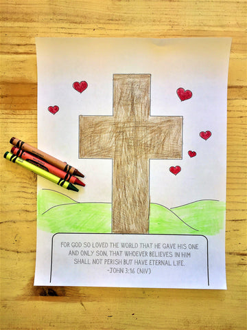 FREE Valentines Day Coloring Page-Cross