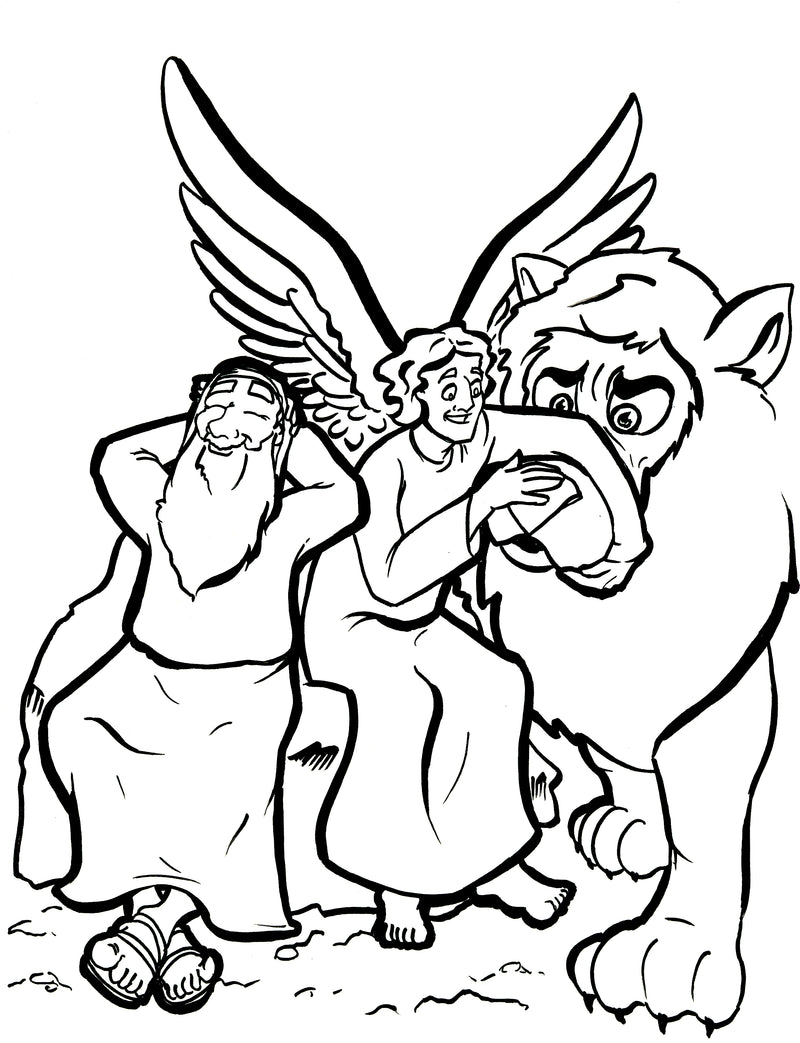 Daniel and the Lions' Den Coloring Page