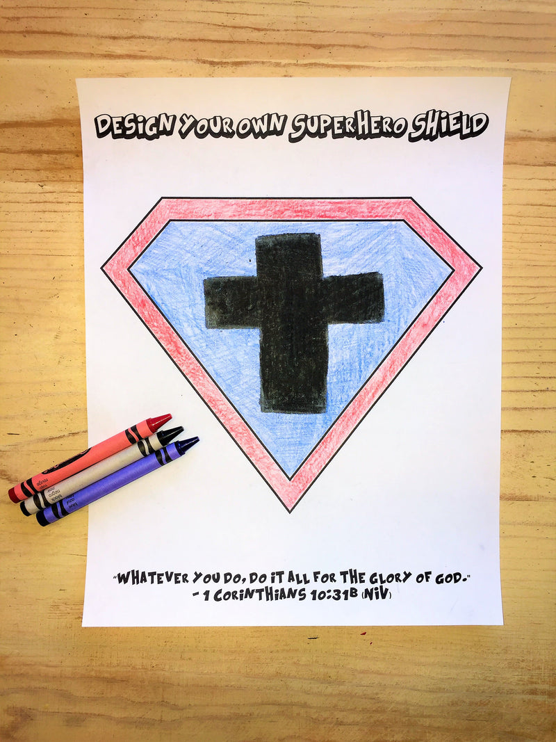FREE Design Your Own Superhero Shield Coloring Page