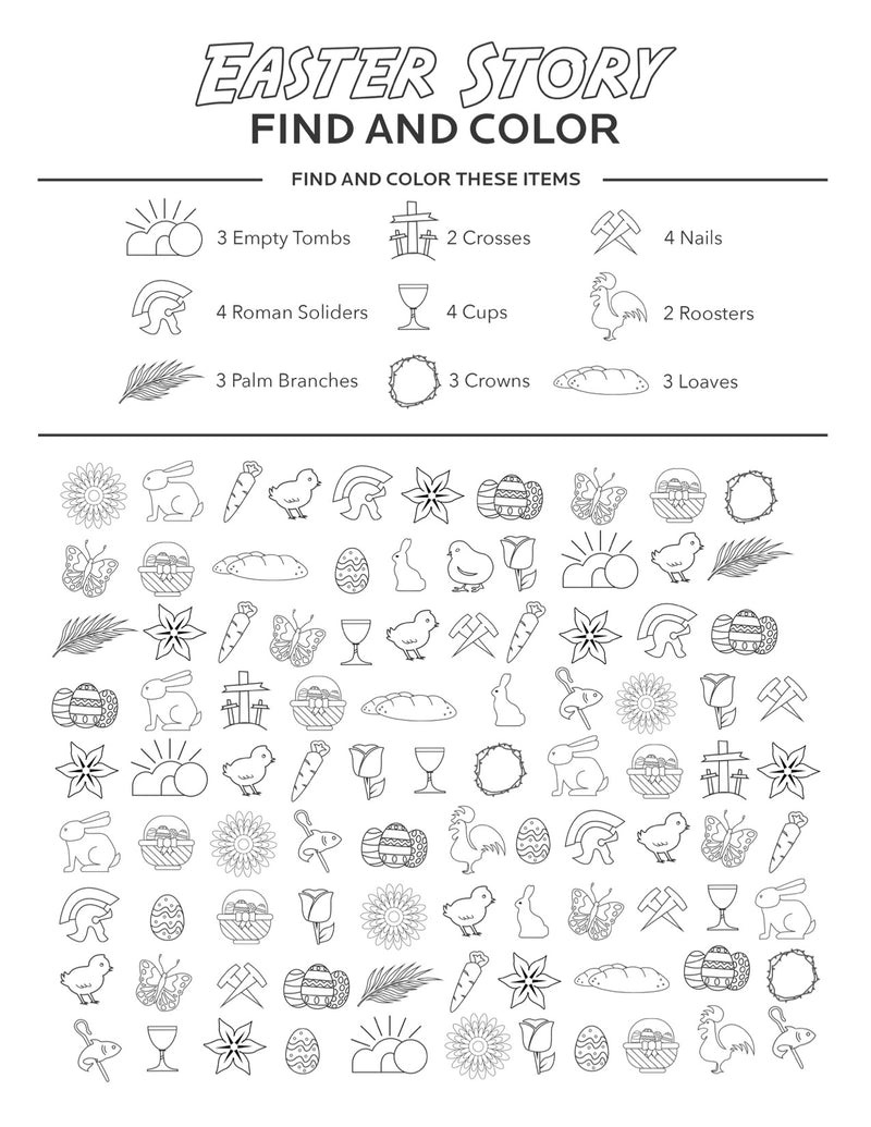 Easter Find and Color Bible Coloring Page