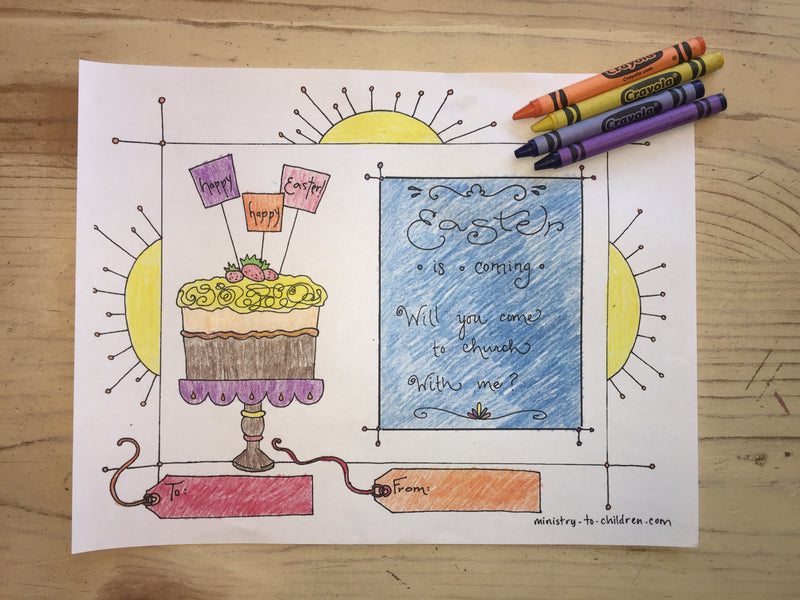 FREE Easter Sunday Invitation Coloring Page