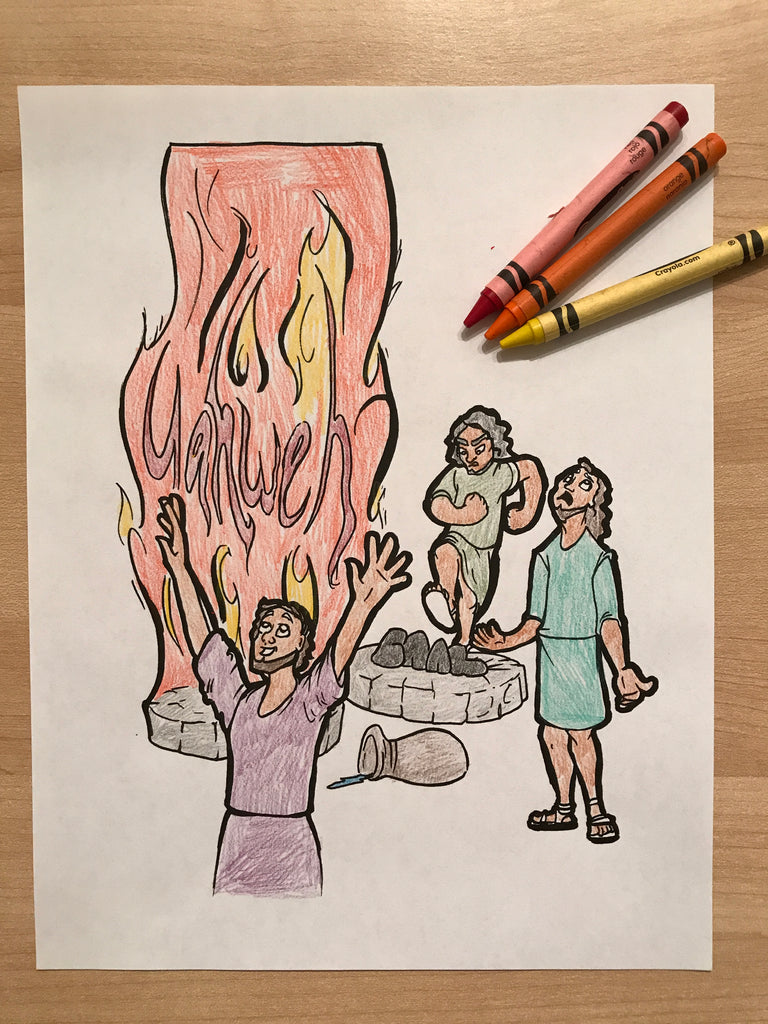 Elijah and the Prophets of Baal Coloring Page